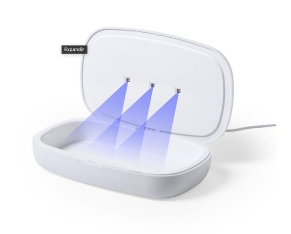 Fácil de usar, basta introduzir o objeto dentro dla caixa. Potência de lâmpada 1W; longitude de onda de 270-280 nm.