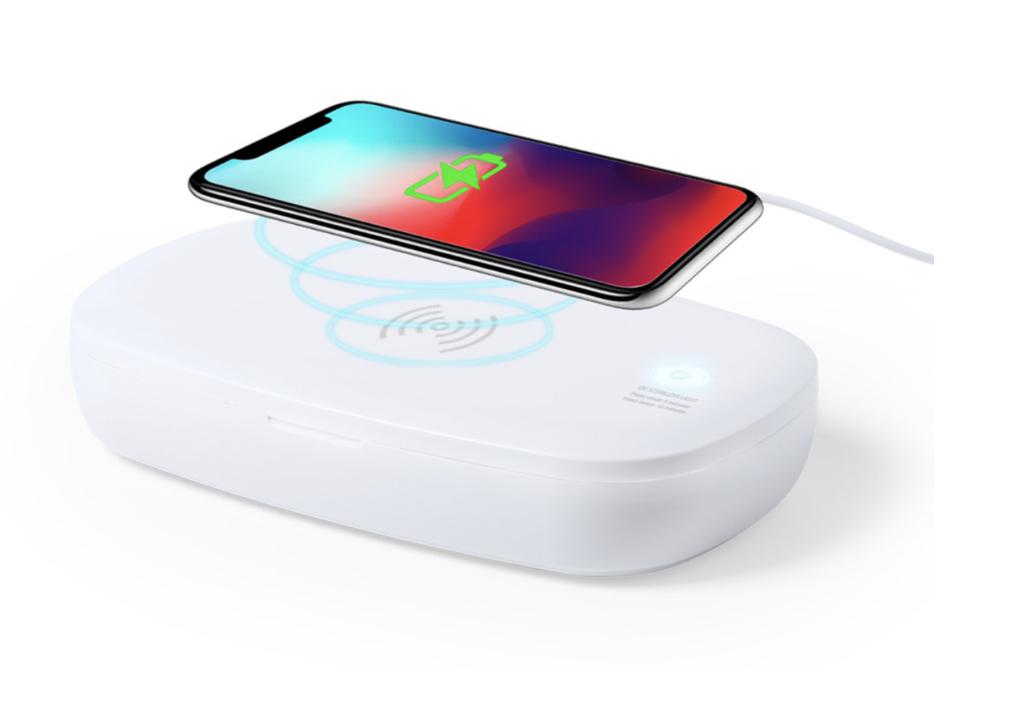 Caixa esterilizadora de luz ultravioleta tipo C, com carregador sem fios para smartphone integrado na tampa.